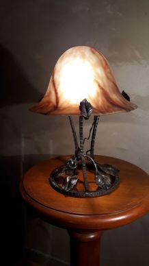 lampe  champignon  pate verre marbre