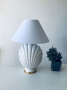 Lampe coquillage blanche et or