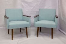 Paire de fauteuils cube tissu bleu claire année 1960 entière