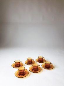 Service à café 6 personnes vereco duralex ambre