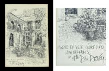 Don Davey - New Orleans - 2 dessins 1976  sous verre