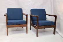 Paire de fauteuils style scandinave années 60 tissu bleu