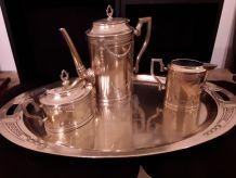 Service café  en cuivre  commémoration mariage 1886-1911