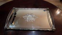 plateau miroir art deco verre biseauté