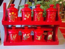 Jolie étagère et ses pots à épices (bois)