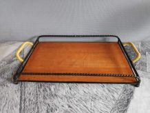 plateau à service fer forgé et bois avec poignées scoubidou