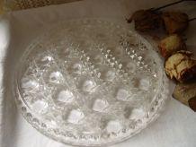Grand dessous de plat, plateau en verre taillé