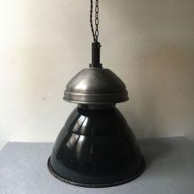 ANCIENNE LAMPE SUSPENSION D'USINE INDUSTRIELLE VINTAGE