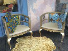 Lot de 2 fauteuils ancien style anglais, tissu wax