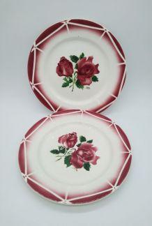 2 assiettes Digoin Sarreguemines modèle Cibon décor de roses