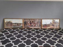 lithographies anciennes diligences sous cadre bois doré