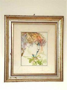 Tableau - Portrait de jeune femme. Huile sur toile