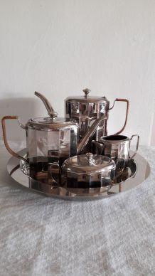 Service café thé style art déco  en métal argenté 5 P