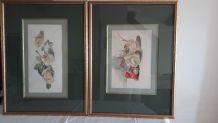 2 Tableaux Aquarelles etudes de roses Vintage