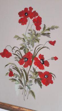 Tableau Broderie bouquet de coquelicots