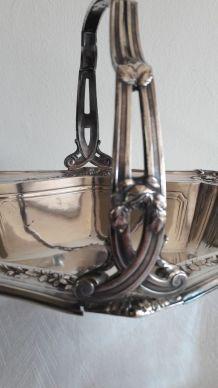 Ancienne Corbeille Art Nouveau métal argenté