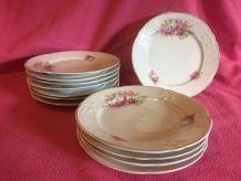 12 assiettes à dessert porcelaine