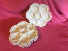 assiettes à huitres porcelaine Limoges