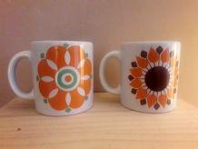 2 Tasses  Mug renault  ceramique 1970