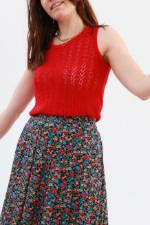 Top sans manches ajourés crochet rouge taille 38