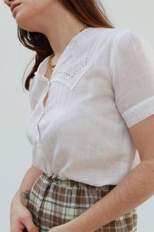 Chemisette droite blanche en lin manches courtes vintage 60'