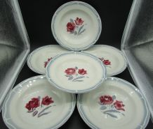 6 assiettes creuses Sarreguemines Alesia