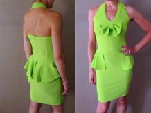 vintage 90s robe bustier dos nu stretch basque noeud vert fl