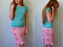 vintage années 90 jupe pinceau maille rose coeur volants S