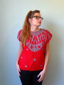 Vintage 80 pull sans manches jacquard motif graphique rouge