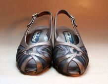Vintage 80s sandales talons cuir bronze tulle noir abstrait