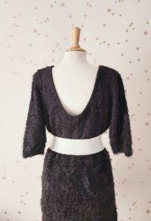Vintage 90 robe pull poilu maille chenille noir