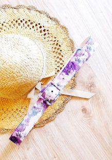 Ceinture en tissu à fleurs violette