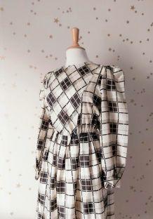 Vintage 70/80 robe plissée  ecossais noir blanc
