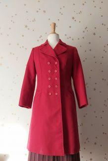 Vintage 70 manteau caban rouge double boutonnage roug
