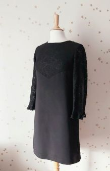 Vintage 60 robe trapèze crêpe  dentelle noire M