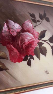 Tableau signé Arti style Vintage motif Rose
