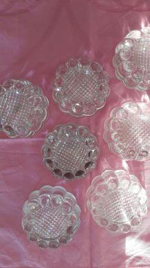 Lot d'anciens Dessous de pieds de table en verre moulé
