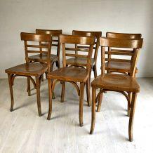Ensemble de 6 chaises bistrot Baumann vintage 50's