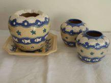 3 pots décoratifs et 1 coupelle bord de mer