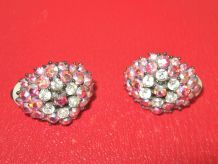 Boucles d'Oreille, Clips,  Bouquet de Strass Multicolores