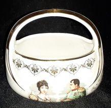Panier bonbonnière Napoléon et Joséphine en porcelaine
