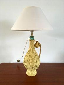 Lampe bouteille scoubidou vintage années 60