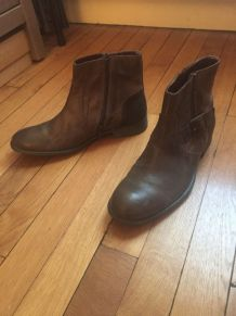 Boots cuir homme marron