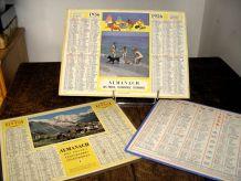 Lot de 3 almanachs des PTT de 1956