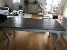 Grande table céruse et patine