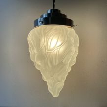 ANCIENNE LAMPE SUSPENSION ART-DECO FLAMME