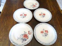 5 assiettes plates digoin