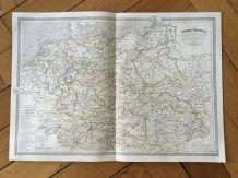 Carte géographique 19ème numérotée EUROPE Centrale