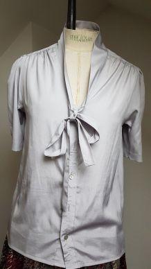 chemisier vintage en polyester t T 36 gris pale