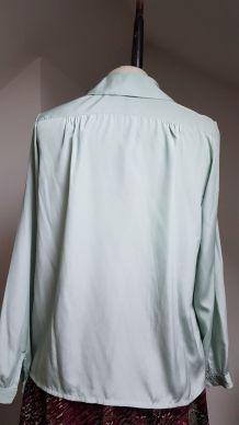 chemisier vintage en polyester  T 36 vert pale